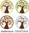 colorful vector illustration of trees in four seasons - stock vector