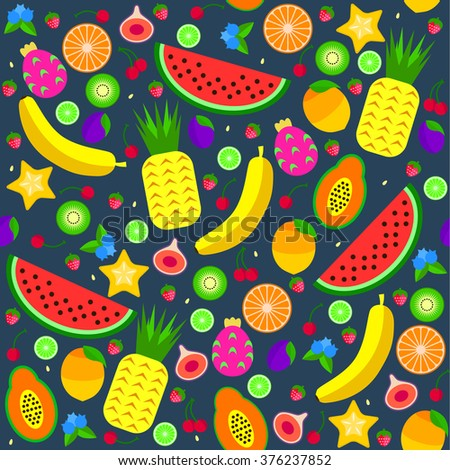 Colorful Vector Illustration / Seamless Pattern Of Fruits Set Collection In Cartoon Style. Perfect For Wallpaper, Wrapping Paper, Book Cover Etc. - stock vector
