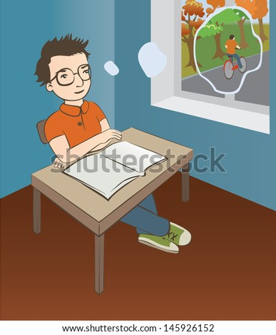 colorful vector illustration. smart schoolboy is sitting at the desk and thinking about summer - stock vector