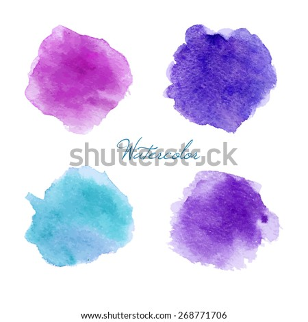 Colorful vector isolated watercolor paint stamps - stock vector