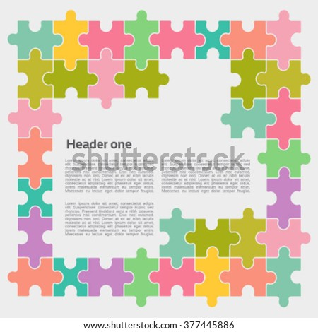 Colorful vector jigsaw puzzle pieces  for multiple uses