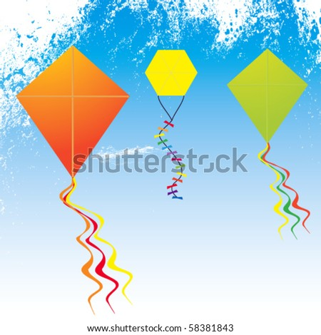 Colorful Vector Kites - stock vector