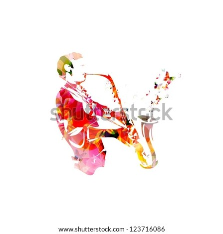 Colorful vector man with saxophone background with butterflies - stock vector