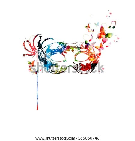 Colorful vector mask background with butterflies. - stock vector