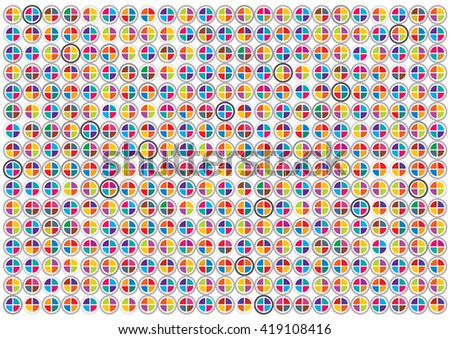 Colorful Vector Mosaic Circles isolated on White Background.