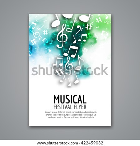 Colorful Vector Music Festival Concert Template Flyer Musical Design Poster With Notes