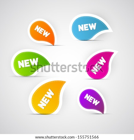 Colorful Vector New Labels, Stickers, Tags - stock vector
