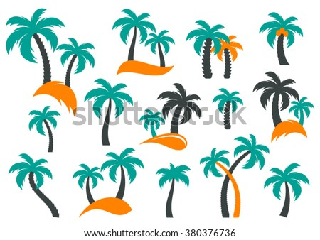 Colorful vector palm tree silhouette icons collection isolated - stock vector