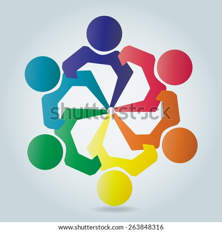 colorful Vector people, children love, unity, solidarity, alliance, union, teamwork, organization, together, group, team, harmony or kids together - Icon.  - stock vector