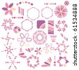 Colorful vector pink symbol collection over white background - stock photo