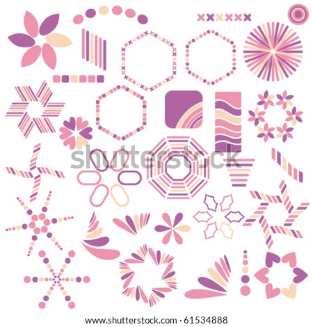Colorful vector pink symbol collection over white background
