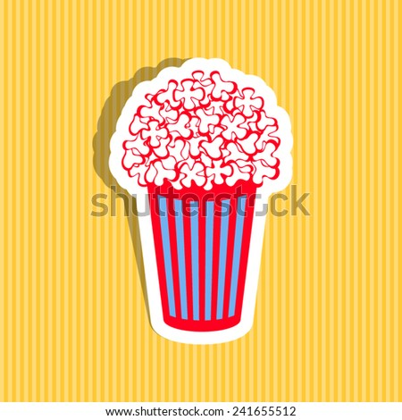 Colorful vector popcorn icon on yellow striped background - stock vector