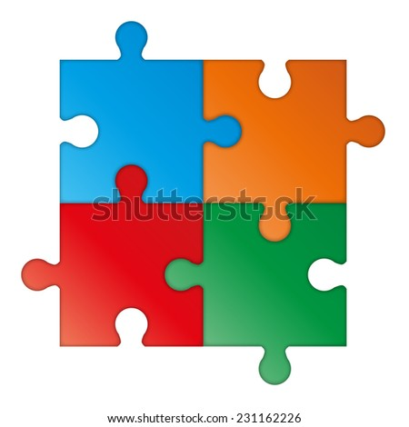 Colorful vector puzzle - stock vector