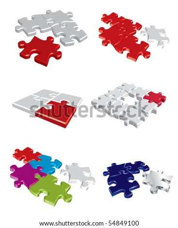 Colorful vector puzzle concepts - stock vector