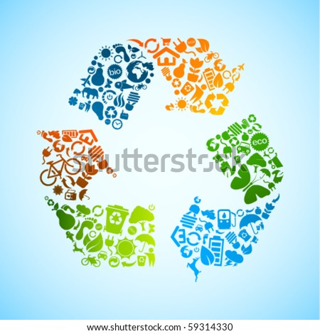 Colorful vector recycle icon - stock vector
