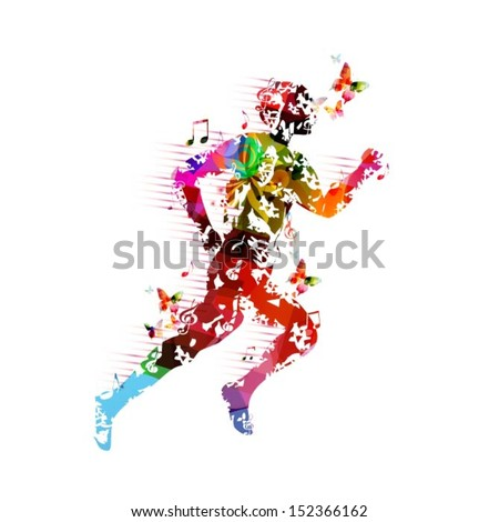 Colorful vector runner silhouette background with butterflies. - stock vector