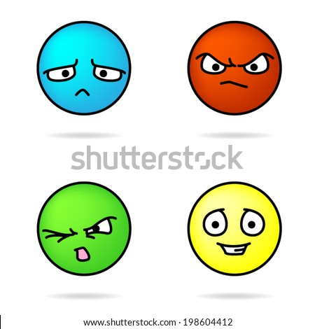 Colorful Vector Sad, Angry, Disgusted, and Happy Faces - stock vector