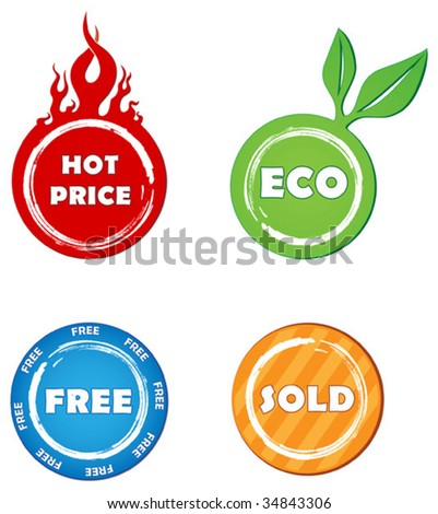 Colorful vector sale stickers - stock vector