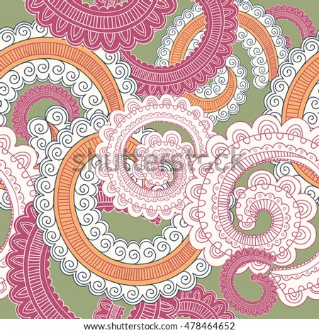 Colorful Vector Seamless Paisley Pattern