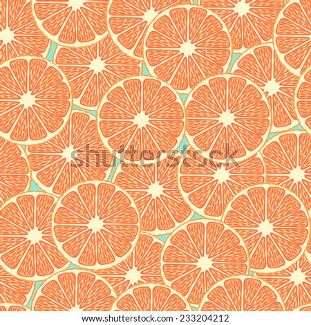 Colorful vector seamless pattern with orange slices - stock vector