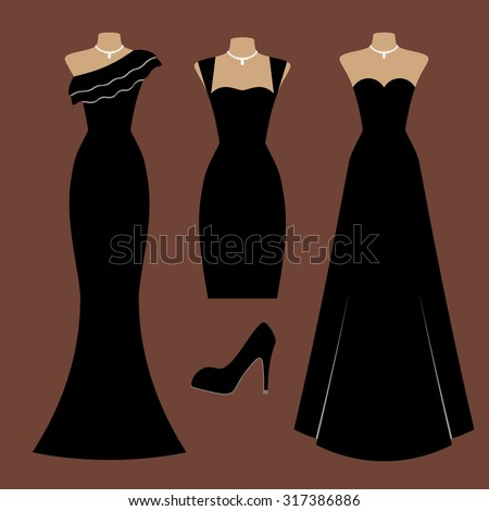 Colorful vector set with evening dresses, jewelry (necklace) and high heel shoes. Black silhouettes of different types of clothes and accessories. Elements for design and fashion illustrations. - stock vector