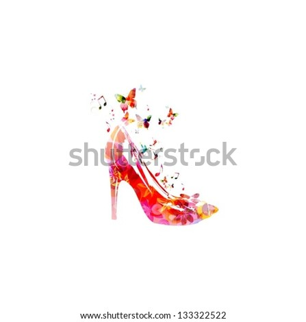 Colorful vector shoe background with butterflies - stock vector