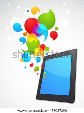 Colorful vector smart phone with speech bubbles - stock vector