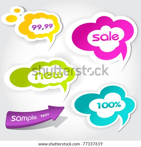 colorful vector speech bubbles for your text - stock vector