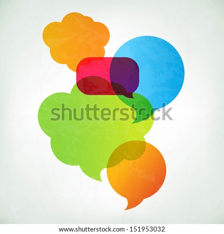 Colorful Vector Speech Bubbles With Gradient Mesh, Vector Illustration - stock vector