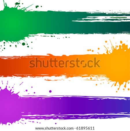 Colorful vector splat banners - stock vector