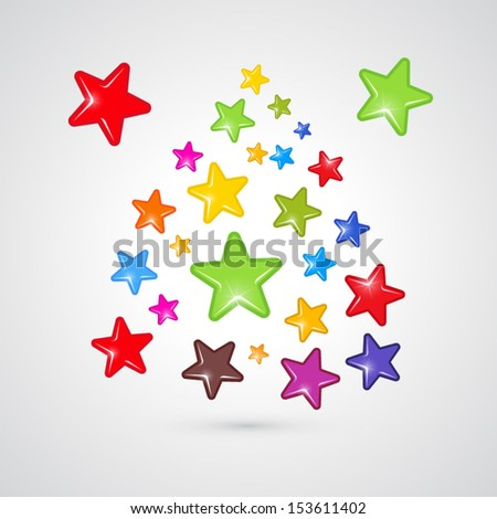 Colorful Vector Stars Isolated on Grey Background
