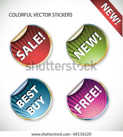 Colorful vector stickers - stock vector