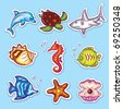 Colorful Vector Stickers Set of Sea Fauna - stock vector