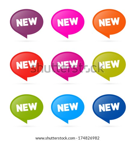 Colorful Vector Stickers with New Title Isolated on White Background  - stock vector