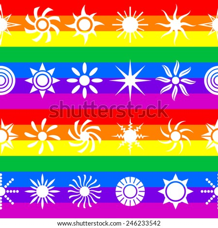 Colorful vector suns. Seamless pattern. - stock vector