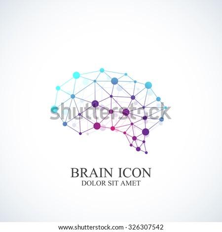 Colorful Vector Template Brain Logo. Creative concept design icon. - stock vector