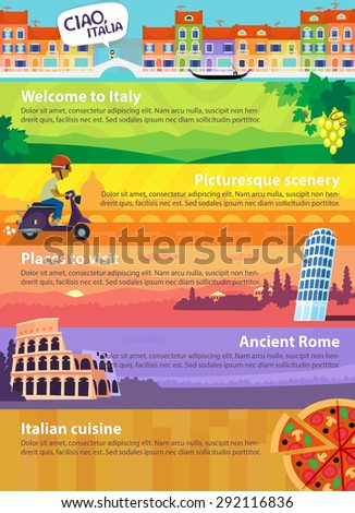 Colorful vector travel banners with Italian sights, cuisine and views of beautiful nature - stock vector