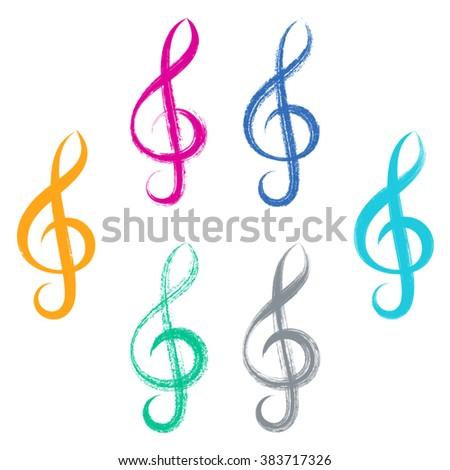 Colorful vector treble clef icons brush strokes design - stock vector