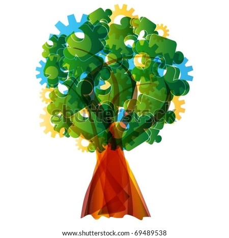 colorful vector tree - stock vector