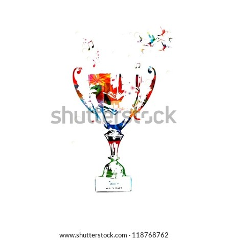 Colorful vector trophy background with hummingbirds - stock vector