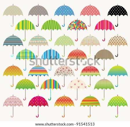 Colorful vector umbrella set - stock vector