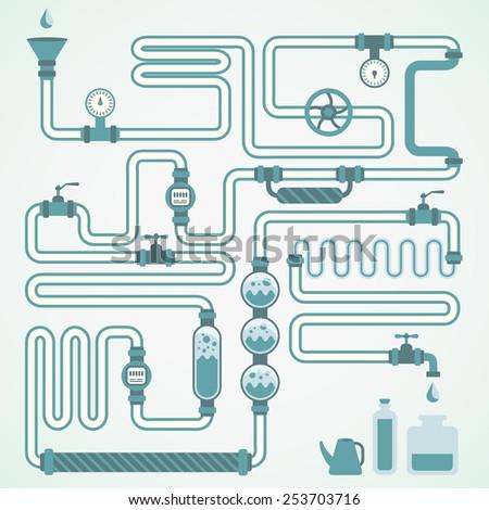 colorful vector water pipeline, blue tones, design element - stock vector