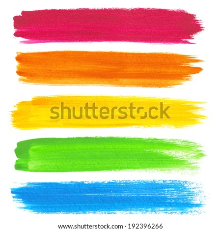 Colorful vector watercolor brush strokes - stock vector