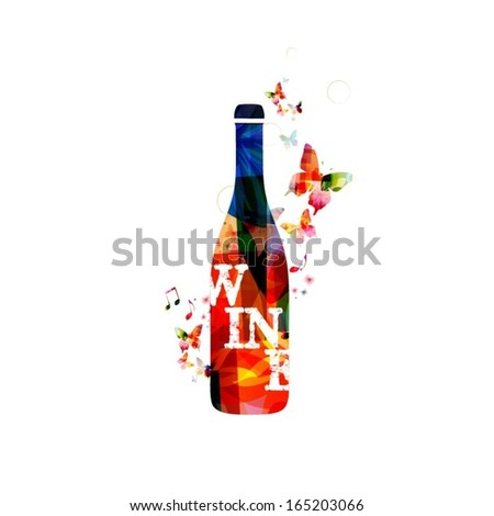 Colorful vector wine bottle background with butterflies. - stock vector