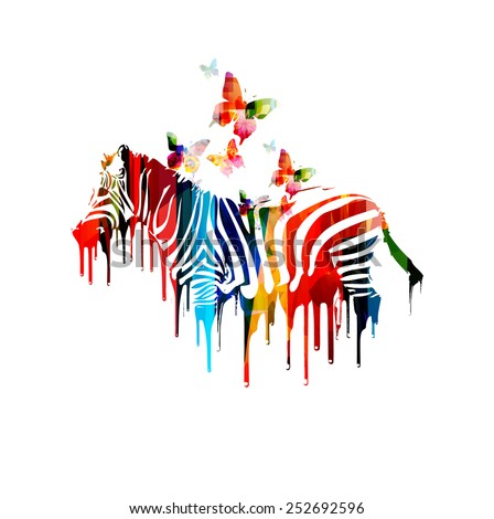 Colorful vector zebra design - stock vector