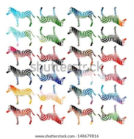 Colorful vector zebra pattern - stock vector