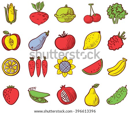 Colorful vegetables and fruits icons vector set in doodle simplicity style - stock vector