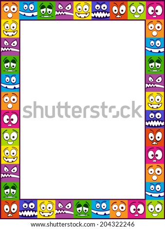 Colorful vertical vector photo frame made of smiling faces. - stock vector