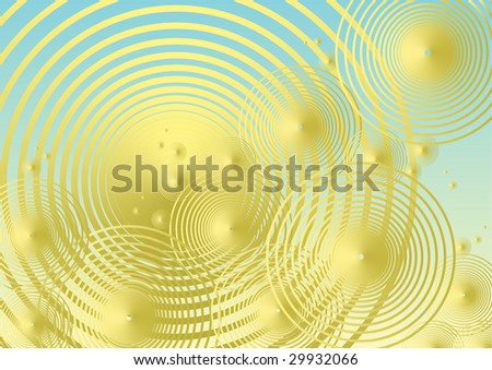 Colorful, vibrant vector background in turquoise and gold with concentric circles. - stock vector