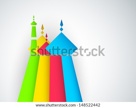 Colorful view of mosque for Muslim community festival Eid Mubarak.